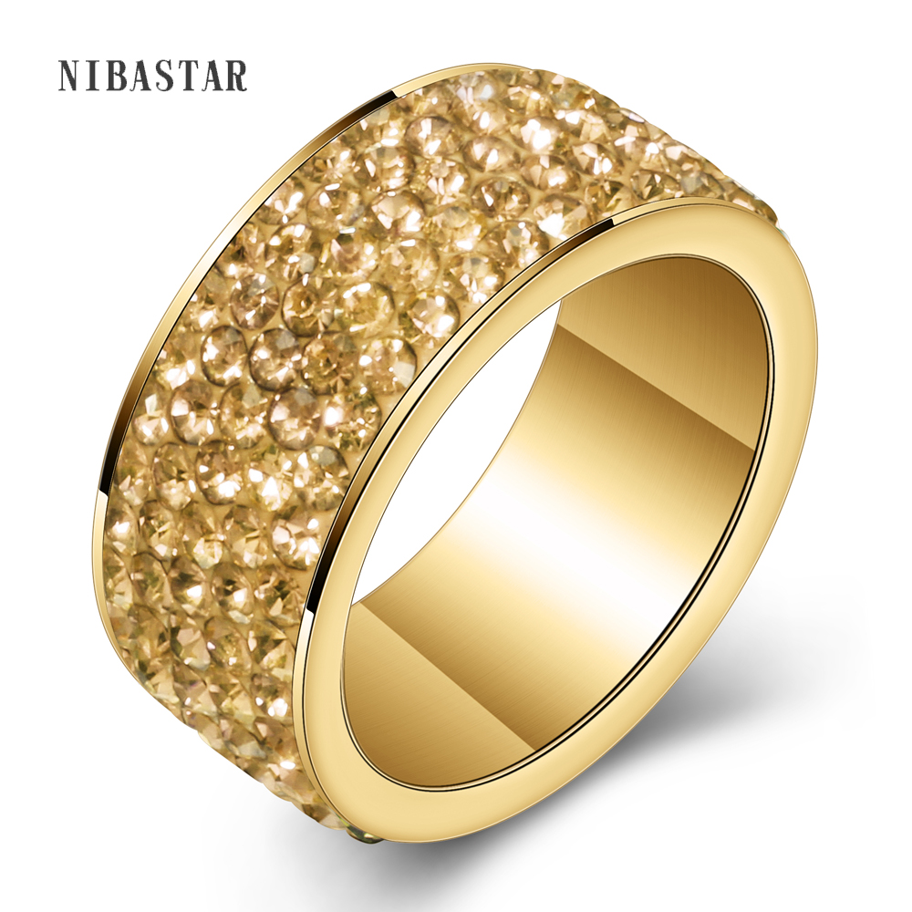 New Fashion Jewelry New Titanium steel Jewelry women gold-color Crystal Rings for women