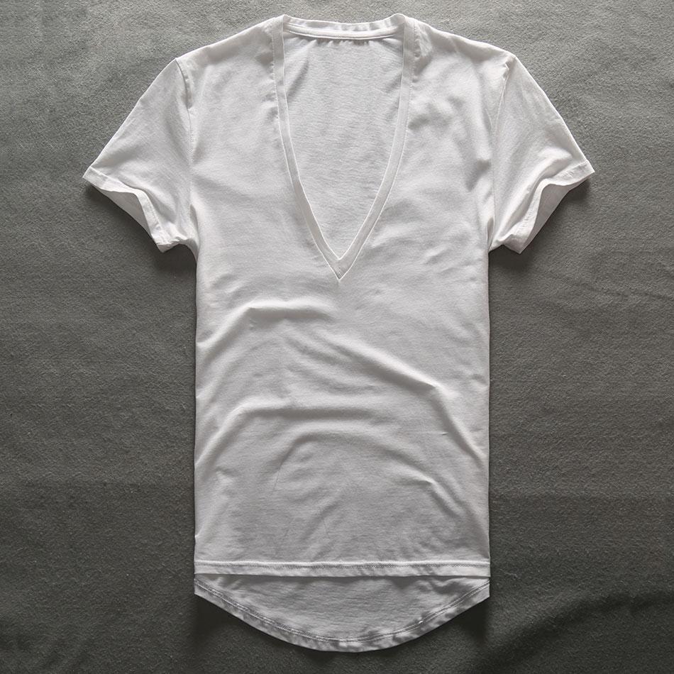 Zecmos Profonde V Cou T-Shirt Hommes Plaine V-cou T Chemises pour Hommes 2017 Mode De Compression Top T-shirts Homme Fête Des Pères cadeaux