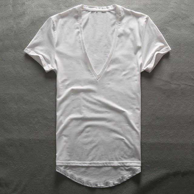Zecmos Profunda V Pescoço T-Shirt Dos Homens Plain Camisetas Com Decote Em V para Os Homens 2017 De Compressão De Moda Top Tees Masculino Dia Dos Pais presentes