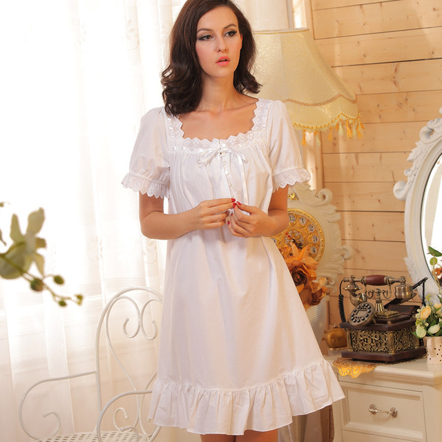 Brand Sleep Lounge Women Sleepwear Cotton Nightgowns Sexy Indoor Clothing  Home Dress White Nightdress Princess Dress bd1d4b331