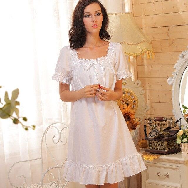 ยี่ห้อนอนเลานจ์ชุดนอนผ้าฝ้ายNightgownsเซ็กซี่ในร่มเสื้อผ้าหน้าแรกแต่งตัวชุดนอนสีขาวปริ๊นเซPlusขนาด
