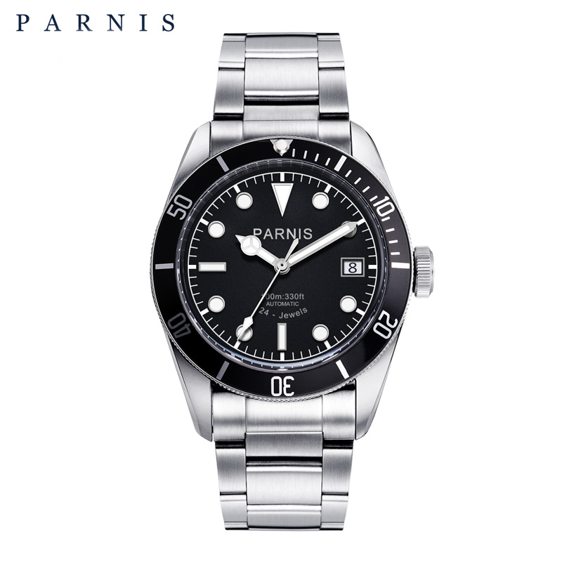 Parnis montre Automatique Hommes Inoxydable Bracelet En Acier Diver homme Horloge Lumineux Analogique Hommes de Mécanique Montres 2018 Nouvelle montre homme