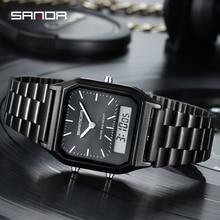 Sanda Quartz Digital Watch Women Fashion Casual Watches Stainless Stee