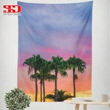 Внутренние тематические гобелены с деревьями для гостиной закат Облака красочные украшения настенные вешалки тканевое одеяло ковры на стену