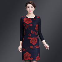Autumn Middle Aged Women Wool Dress 2018 New Style Winter Round Collar Xxxxl Designs Weddings Mother Fashion Bottoming Dresses