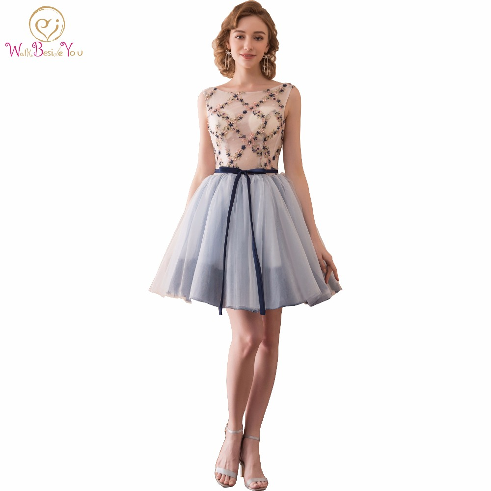 Walk Beside You Colorful   Cocktail     Dresses   Gray Embroidery Pearl Short Party Formal Gowns Transparent Ball Gown Robe   Cocktail