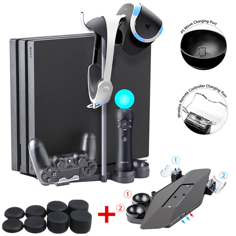 Multi-Function Storage Bracket Base Stand Holder&Dual Move Controller Charging Station for Sony PS4 Slim/Pro/PS VR+8Joystick Cap