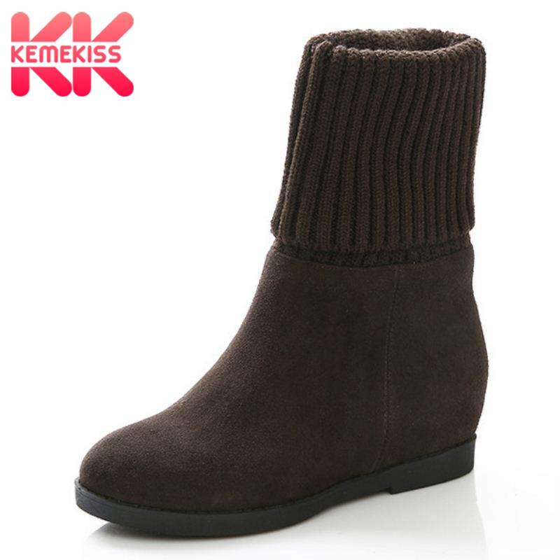 women real genuine leather height increasing over knee boots fashion long boot winter bota brand footwear shoes R7415 size 33-40 size 31 45 women real genuine leather high heel over knee boots winter warm long boot riding quality sexy footwear shoes r8297