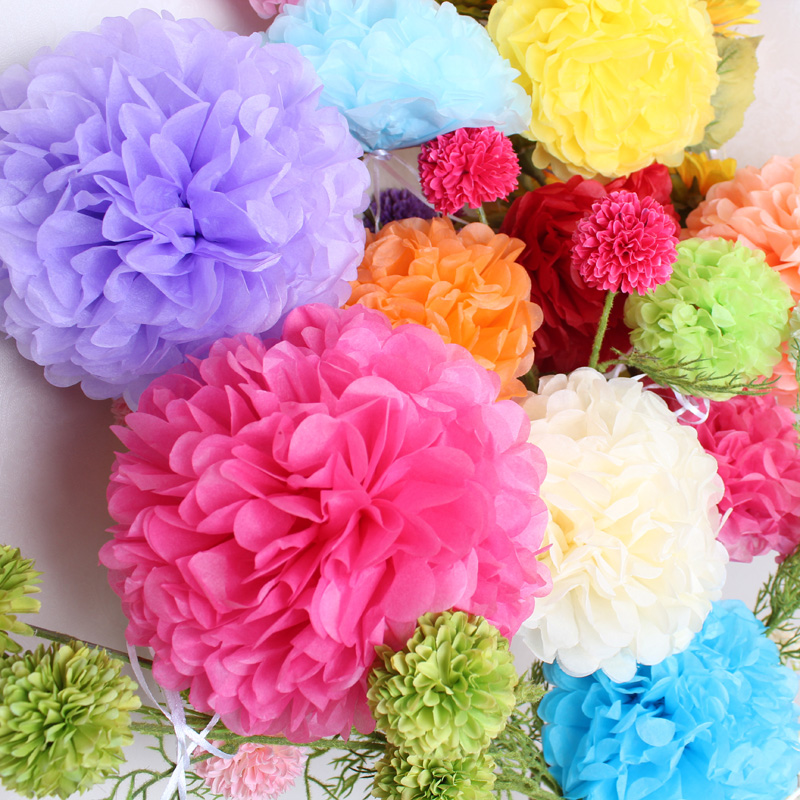 5pcs/lot 10/15/20/25/30/35CM Paper Pom Poms For Wedding Ball Pompoms Birthday Party Baby Shower Supplies Wedding Home Decoration
