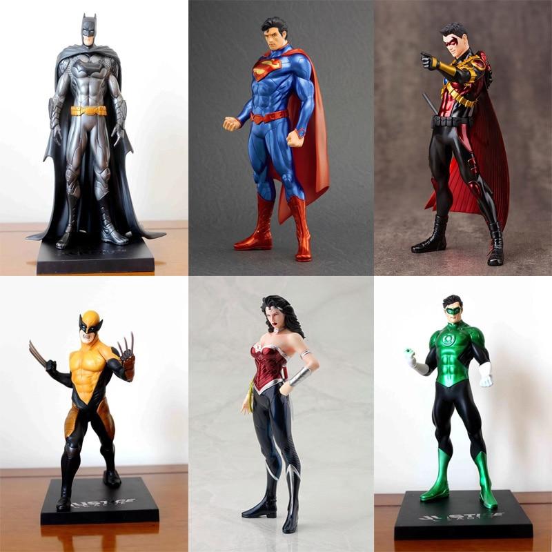 18 см ARTFX 52 супергерой Супермен Бэтмен чудо-женщина красный Робин Росомаха зеленый Фонари Действие ПВХ рис Коллекция Модель игрушки