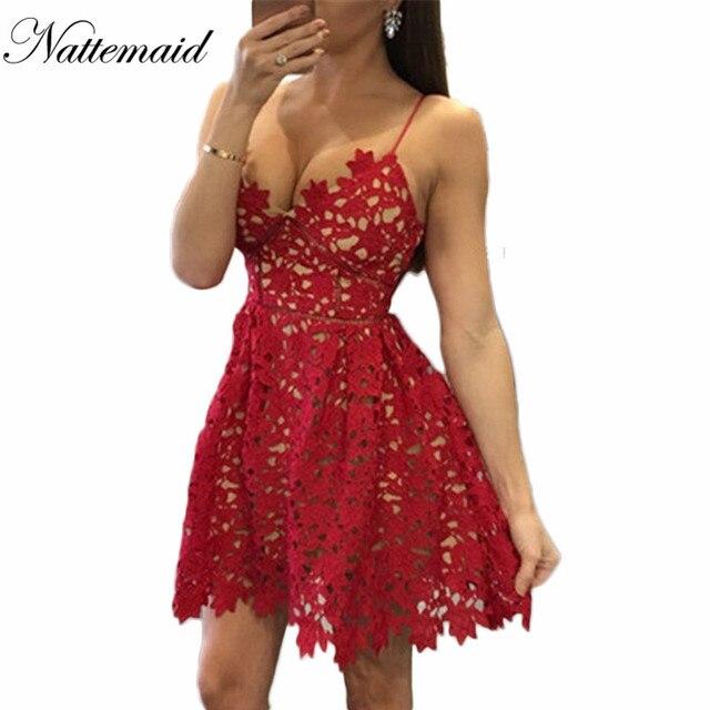 NATTEMAID Spitze Kleid Zurück Reißverschluss Spaghetti Strap Kleid ...