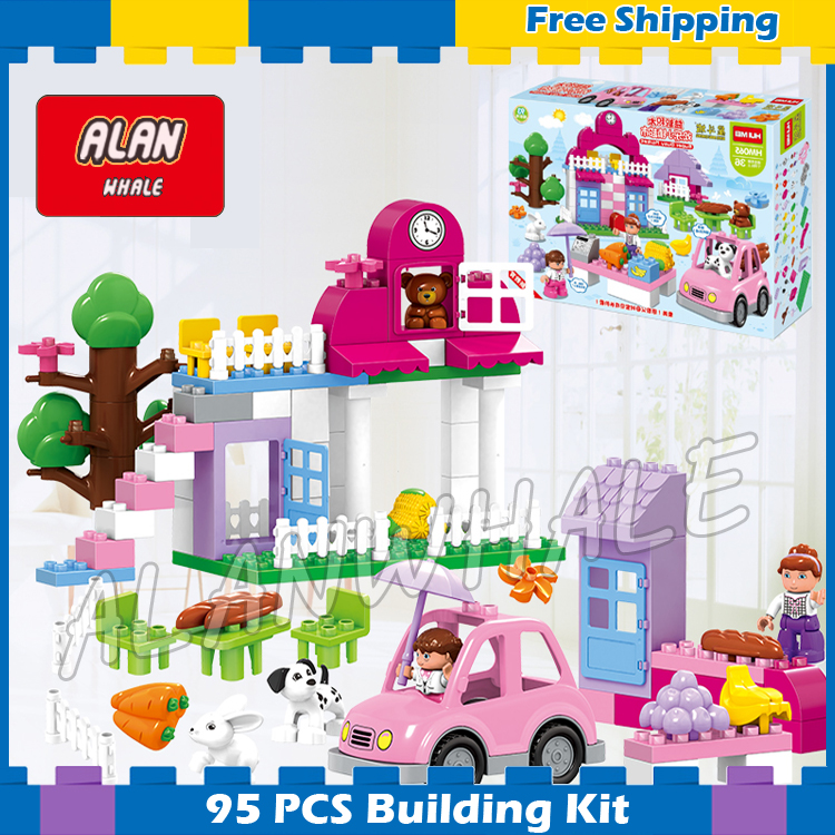 95pcs Big Size Princess Collection Super Busy Market Model Building Blocks Bricks Kids Sets Toys Gift Compatible With Lego Duplo kazi 608pcs pirates armada flagship building blocks brinquedos caribbean warship sets the black pearl compatible with bricks