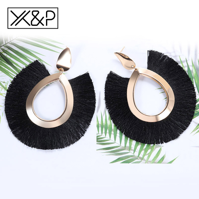 X&P Bohemian Big Tassel Drop Earrings For Women Lady Female Fringe Handmade Brincos Statement Fashion Woman Earring 2018 Jewelry 4