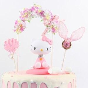 Image 3 - جميل زهرة bowknot قوس كعكة توبر كعكة عيد ميلاد الديكور استحمام الطفل الاطفال عيد ميلاد حفل زفاف لصالح لوازم