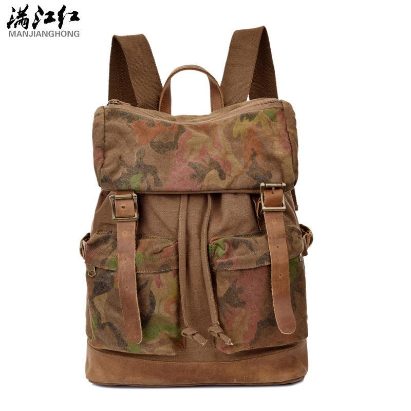 Manjianghong Brand Men's Canvas Backpacks Vintage Back Pack Bags Large Capacity Travel Camoflage Backpack Bag Casual Canvas Bags xiyuan brand newest classic vintage unisex canvas backpack ethnic embroidery large casual travel backpacks