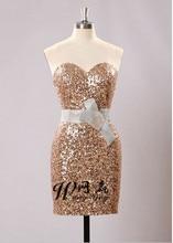 Schatz sparkly goldenen pailletten cocktail dress glänzende damen mädchen-partei-kleid mini cocktailkleid mit perlen schärpe