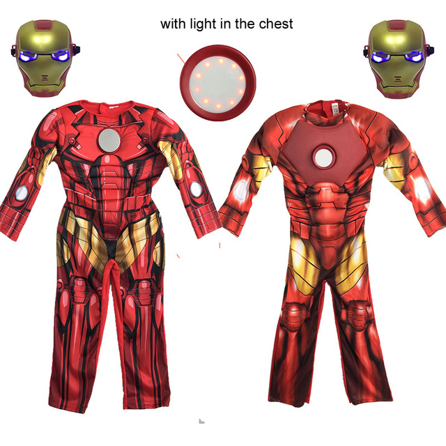 834260261e09 ... ktlparty red children boy the avengers muscle iron man costume with  light in chest jumpsuit party ...