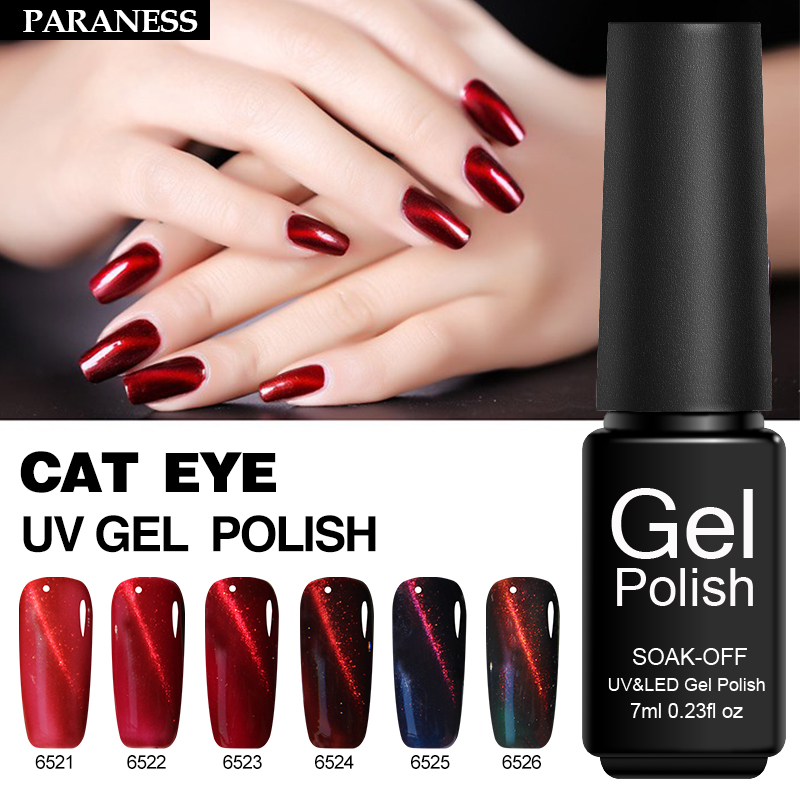 Paraness Red 3d Cat Eye Metallic 7ml Uv Gel Polish Nail Art Soak Off