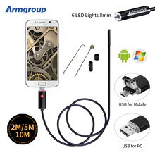2M 5M 10M 2IN1 Black Endoscope 8MM USB Android Camera Pinhole USB Endoskop Inspection Borescope OTG 720P Andorid Phone Camera