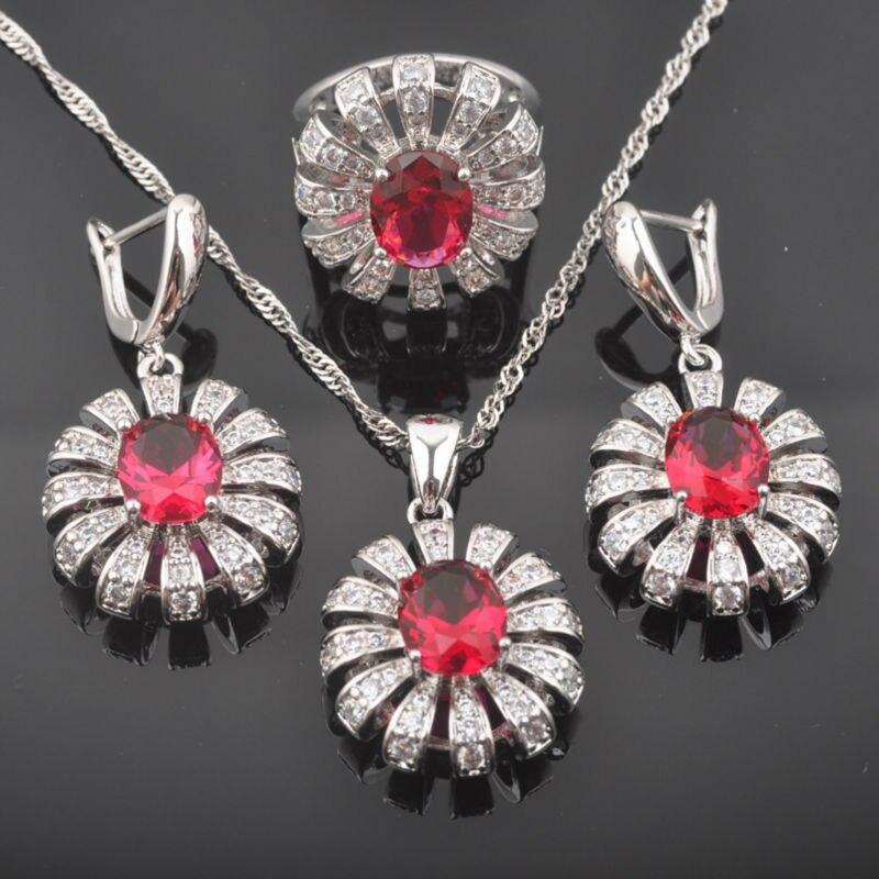 Fahoyo Wunderschöne Rose Red Zirkon Cz Frauen 925 Sterling Silber Schmuck Sets Ohrringe/anhänger/halskette/ringe Qz0470 Verschiedene Stile Schmuck & Zubehör