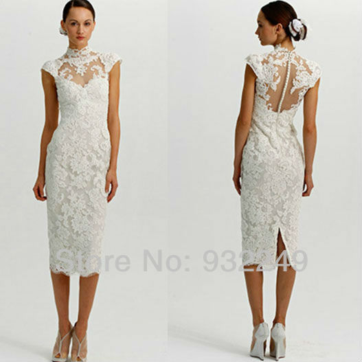 High Neckline White Tea Length Lace Dress Traditional Wedding Sheath Cap Sleeves