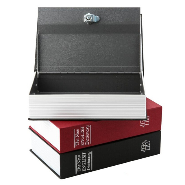 Dictionary Book Secret Hidden Security Safe Lock Cash Money Jewellery Locker Storage Box Size S-M 3 Colors for Choice