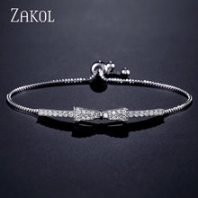 ZAKOL Newest Cute Zirconia Crystal Charm Adjustable Bracelets Bowknot Bracelet for Women Girl Wedding Party Jewelry FSBP2028(China)