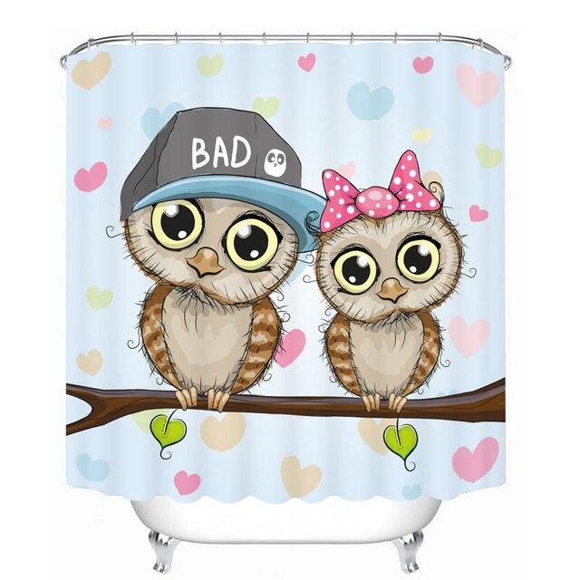 MYRU 3D Print Waterproof Owl Shower Curtains Bath Products Bathroom Decor With Hooks