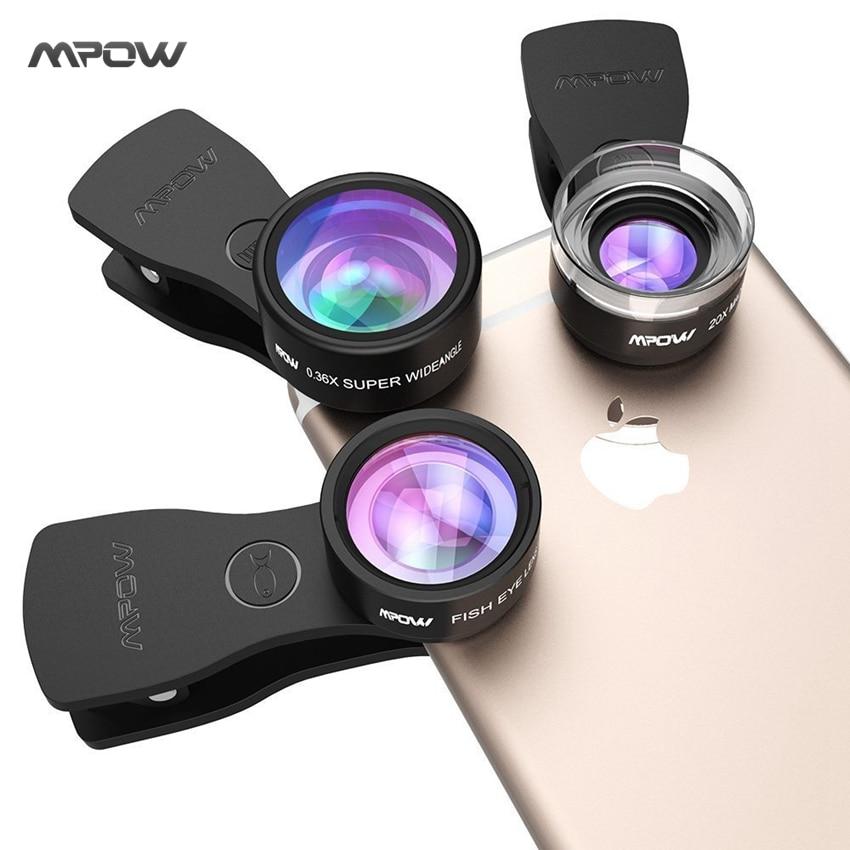 bilder für Original Mpow MFE4 Clip-On Handy-kamera-objektiv Kits 180 Grad Fisheye objektiv + 0.36X Weitwinkel + 20X Makro-objektiv für Handys