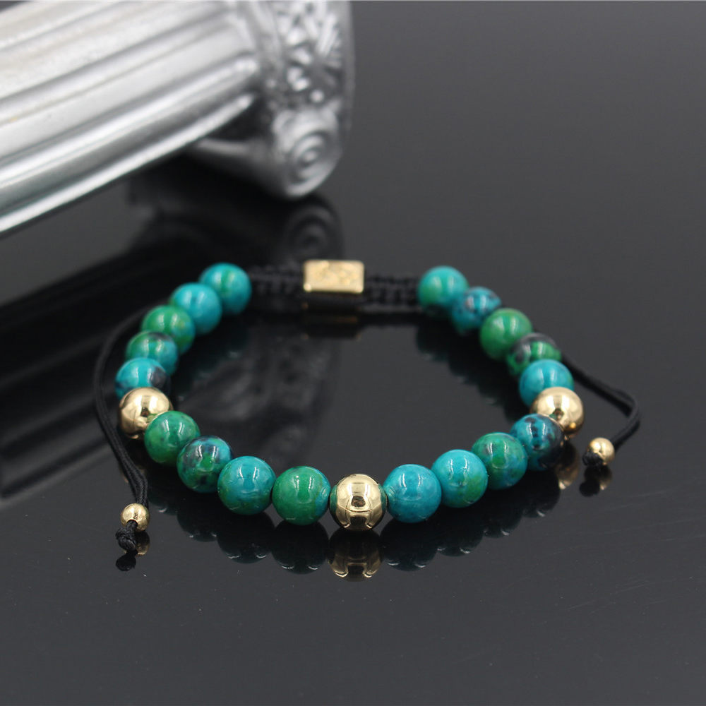 Lapis Stone beads Bracelets for women Men Gold Charm Bracelet Black Rope Braiding Macrame