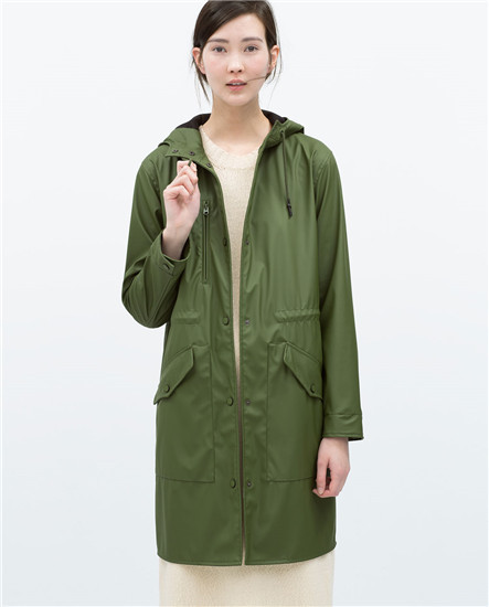 2015 ZA genuine Women Green Long rubberised waterproof parka with ...