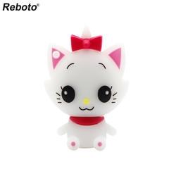 Retobo Usb 2,0 Pendrives Personalizado 64 ГБ Бесплатная доставка мультфильм Мэри кошка USB Белый Кот 4 ГБ 8 ГБ 16 ГБ накопитель 32 ГБ U диска