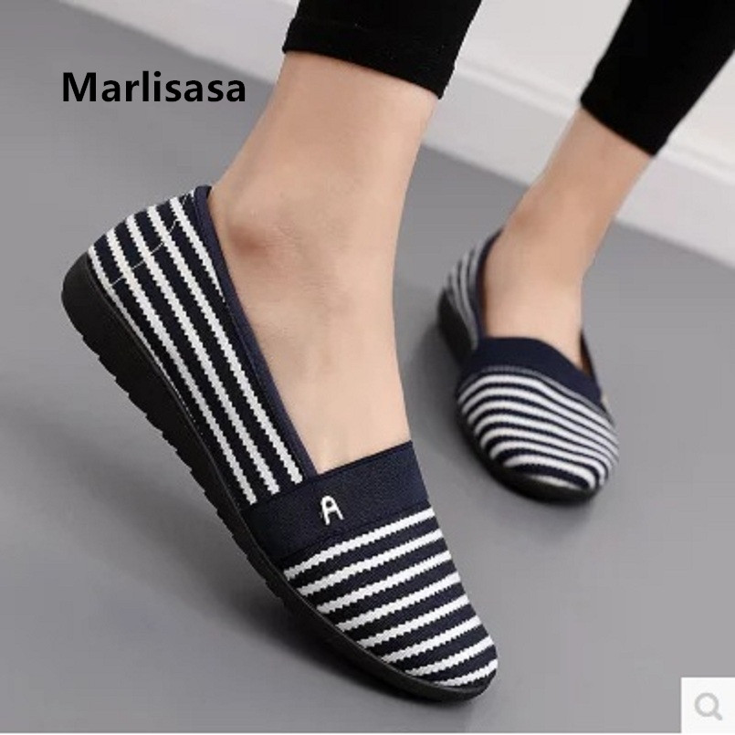 Marlisasa Zapatos De Mujer Women Fashion Stripe Dance Shoes Lady Casual Spring Ballet Shoes Female Leisure Flat Loafers F210