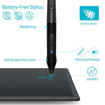 HUION INSPIROY Q11K V2 Wireless Graphic Drawing Tablet Digital Pen Painting Tablet with Battery-free Designed and Tilt Function