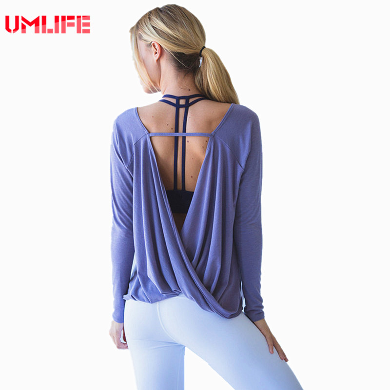 UMLIFE Yoga Shirt Loose Breathable Fitness Shirt Women ...