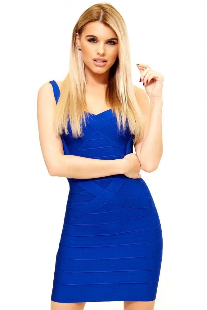 BEAUKEY Women Sexy Spaghetti Strap Short Bandage Dress Mini Solid Blue Bodycon  Dress Club Party Dress 1cf51f62e5c7