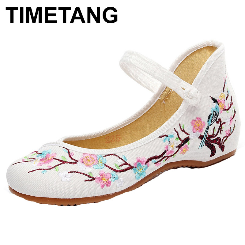 TIMETANG Women Flats Plum Flower Embroidery Canvas Mary Janes Shoes Ladies Soft Sole Ballerina Shoes Woman Casual Zapatos Mujer туфли rossa туфли на каблуке