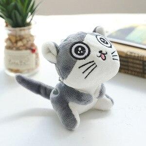 Image 4 - 4 tasarımlar 9 cm Kedi Peluş Doldurulmuş bebek oyuncak Anahtar halkalı anahtarlık Peluş Kedi Bebek Hediye Kızlar için