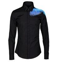 Luxury Bird pattern Men Shirt 2018 Autumn Fashion Brand Male Long Sleeve Slim Fit 80% Cotton Shirts Casual Tops Plus Size M 4XL