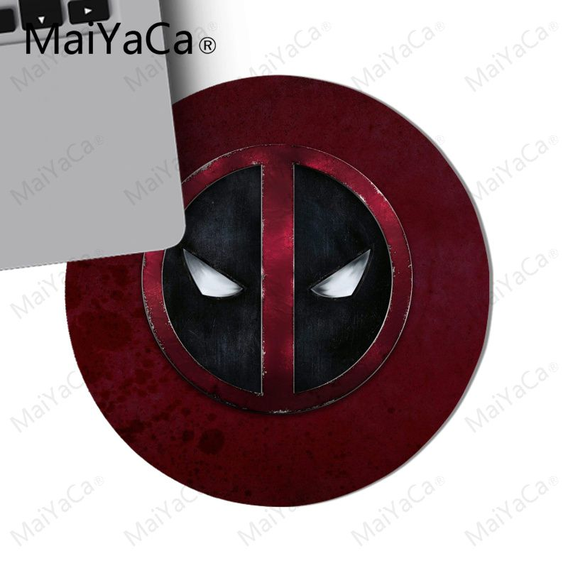 MaiYaCa Cool New Best Deadpool Logo gamer play mats Rubber Mouse pad Round mouse pad 22x22cm 20x20cm