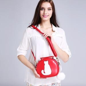 Image 2 - 2020 damskie torebki na ramię Crossbody torba dla kobiet torebka PU skóra pełnia księżyca cukierki kolor słodki kociak z futrzana kulka