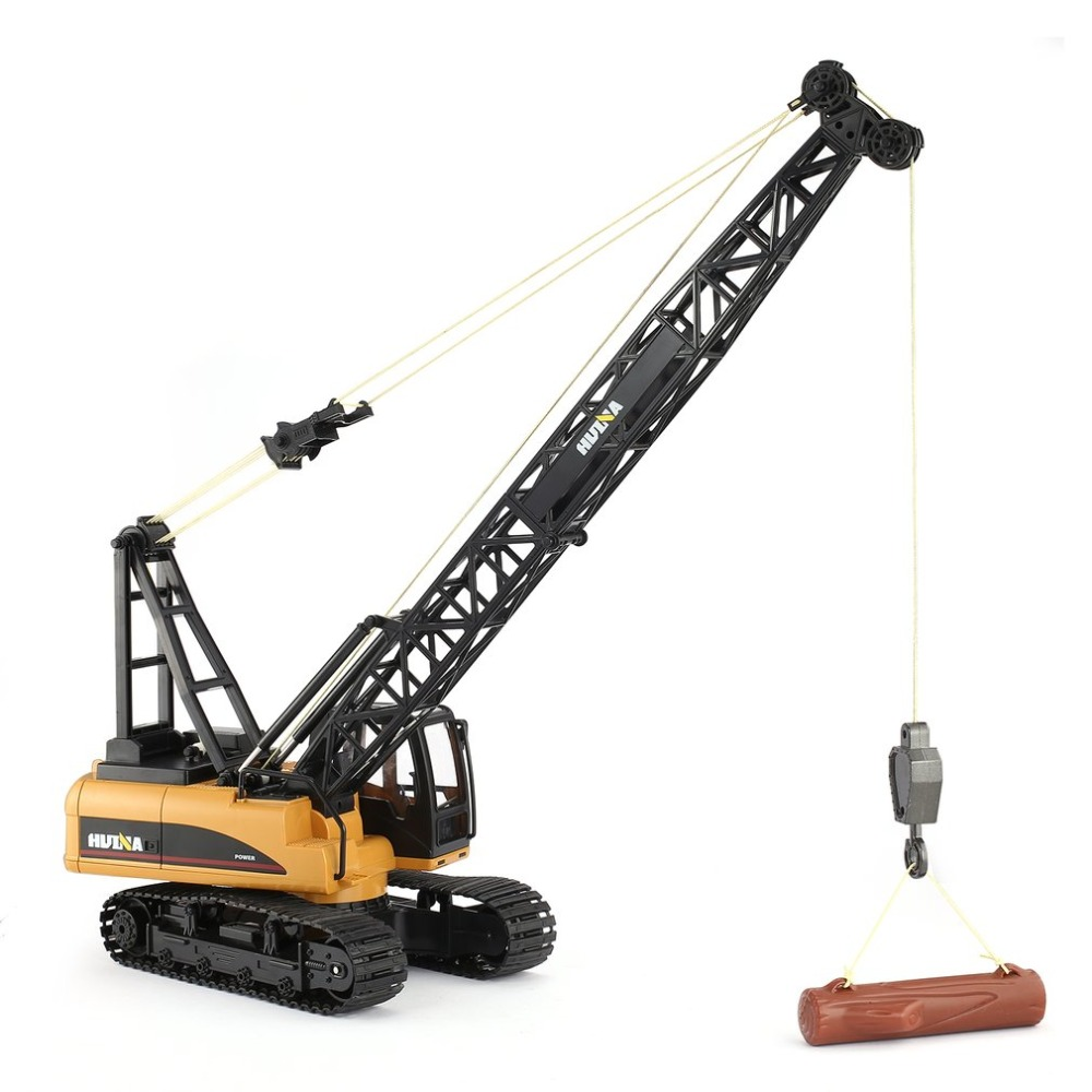 HUINA 1572 15ch RC Alloy Crane 1/14 2.4GHz Engineering Movable Latticed Boom Hook Mechanical Truck & Sound Light kids Toys Car