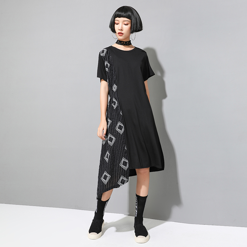 Make Europe United States new summer dresses diablo leisure loose stitching asymmetric long dress(China)