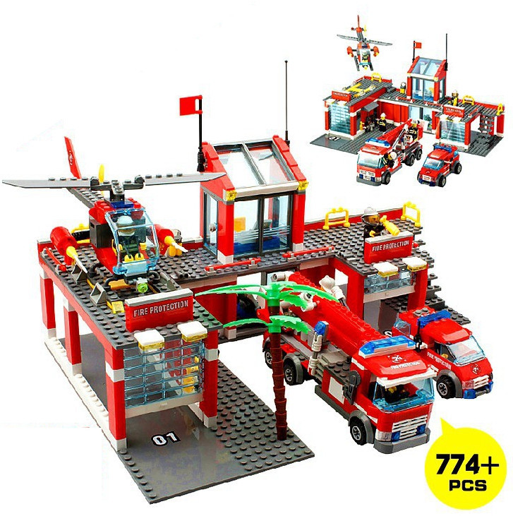 KAIZI Super Large Fire Station Building Blocks plastic Model Kit Kids Gifts Education Bricks Toys Sets Compatible with Lepin