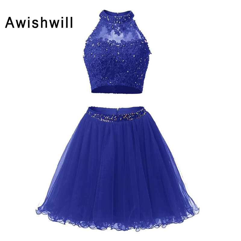 Cheap Selling Scoop Neckline Appliques Beadings Tulle   Cocktail     Dress   Two Pieces Sexy Homecoming   Dress   2019