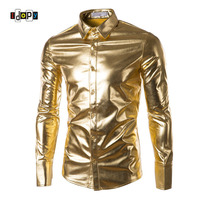 Mens Trend Night Club Coated Metallic Gold Silver Button Down Shirts Stylish Shiny Long Sleeves Dress