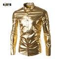 Mens Tendência Boate Revestido Metálico Ouro Prata Botão Para Baixo Camisas do Dia Das Bruxas Partido Brilhante Mangas Compridas Camisas de Vestido Para Homens