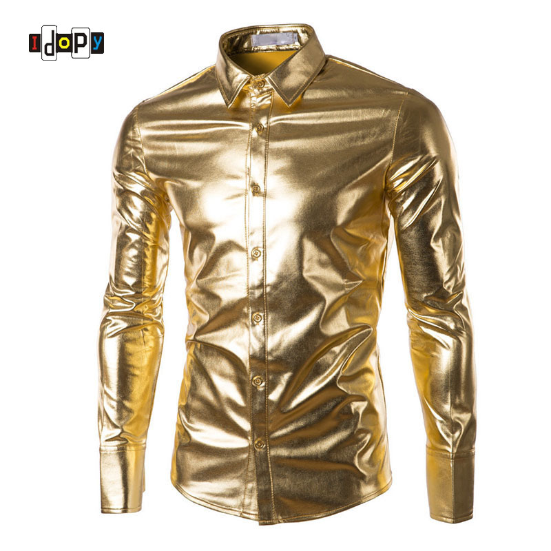 Mens Trend Night Club Coated Metallic Halloween Gold Silver Button Down Shirts Party Shiny Long Sleeves Dress Shirts For Men