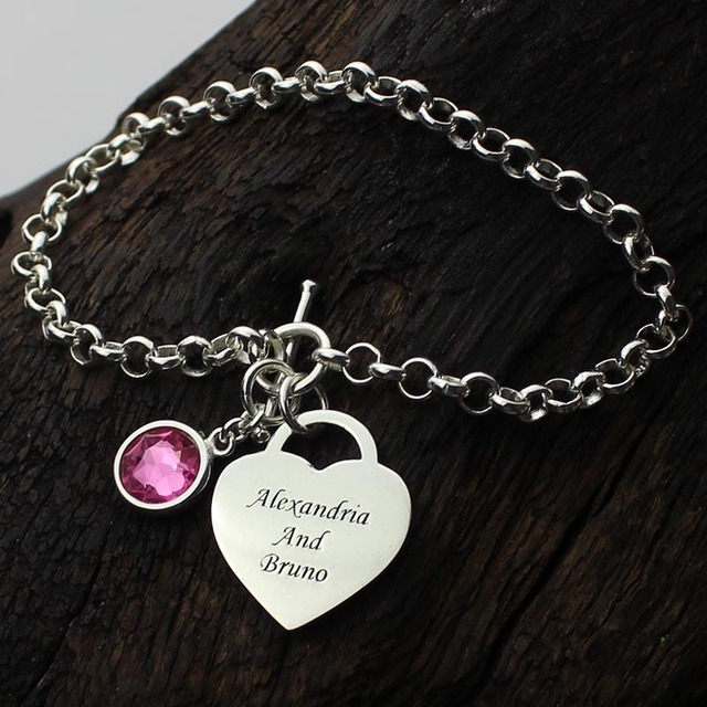 Ailin Personalized Heart Birthstone Bracelet In Sterling Silver Names Lover Charm You And Me Name