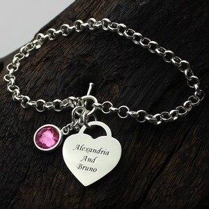 Image 2 - Ailin Gepersonaliseerde Hart Geboortesteen Armband In Sterling Zilver Namen Minnaar Bedelarmband U En Me Naam Armband Liefde Sieraden